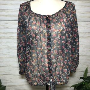 Wet Seal Sheer Flowered Button Down Blouse
